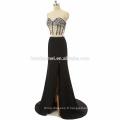 2017 nouvelle arrivée hors épaule perlée en gros sexy robe de bal haute split noir, bleu clair sexy deux pièces robe de bal