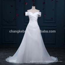 Livraison rapide sur l'épaule A-Line Organza Robes de mariée Court Train Robes de mariée