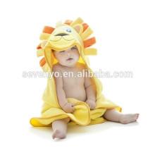 Serviettes de bain à capuchon pour bébé 100% coton bio doux pour bébé, joli lion enveloppé à la capuche, facile à laver et à sec 28 * 40 pouces