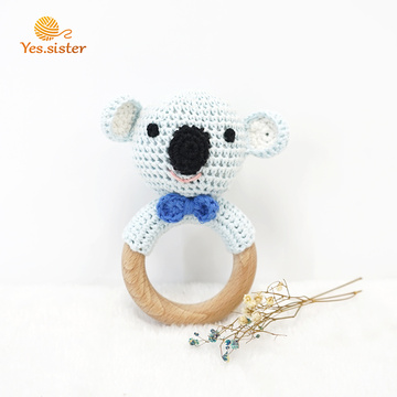 Crochet Beech Wood Koala Teether Baby Toys