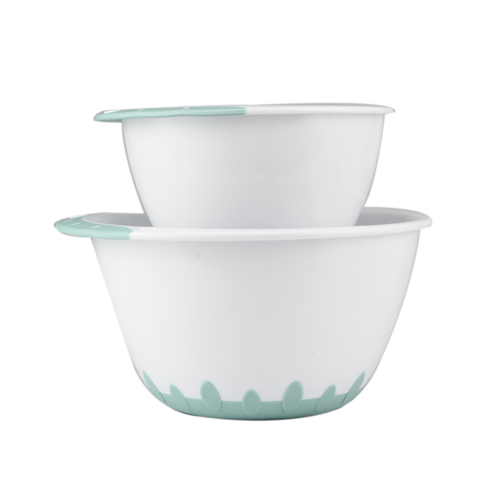 New Design Plastic Mixing Bowl With Lid Set Non Slip Base