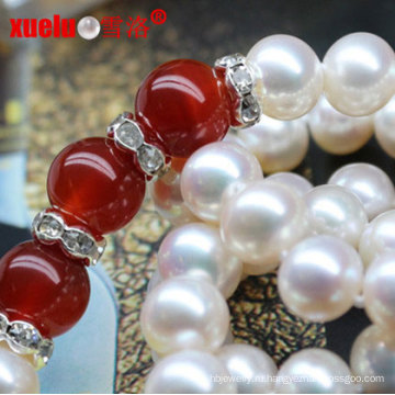 Простой дизайн китайской пресной воды жемчужное ожерелье с агатом