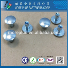Hecho en Taiwán Acero al carbono C1006 Zinc plateado CR6 + Cera Oval Cabeza Decorativo Semi Tubular Remaches