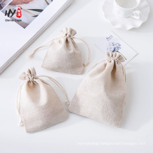 wholesale cheap logo custom linen drawstring pouch