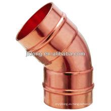 J9306 Anillo de soldadura Codo de 45 grados, encaje de cobre
