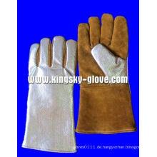 Golden Cow Split Leder Aluminiumfolie Schweißen Arbeit Handschuh-6700