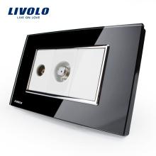 2016 vente chaude De Luxe Noir Panneau En Verre De Cristal Prise De Télévision tv US / AU Standard commutateur Livolo TV & SAT Socket VL-C391VST-82