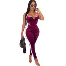 women's clothes Amazon explosions sleeveless openwork zipper backless splicing jumpsuit