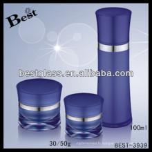Récipient bleu de crème de visage de glaçage de 100ml, récipient acrylique promotionnel de crème de visage