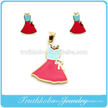 Fahion High Quality Stainless Steel Colorful Enamel Young Girl's Skirt Pendant And Earrings Jewelry Set With Shiny Crystal
