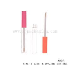 A203 botella transparente de tapa rosada de 5ml plástico lipgloss tubo embalaje cosmético orgánico