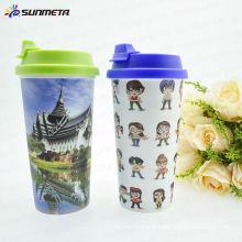 Sunmeta New Arrival Hot Vente Haute qualité Impression Sublimation Plastic Double Wall Mug