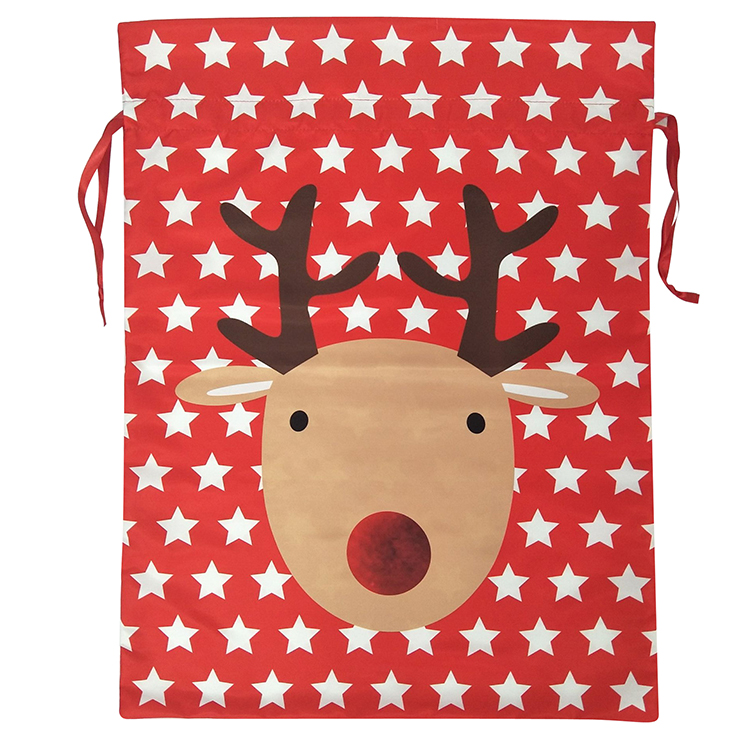 Christmas Sack With Printed Reindeer