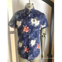 Camisas de algodón estampadas de manga corta para hombres de alta calidad
