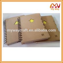 Livro de papel kraft reciclado Eco, caderno espiral, caderno diário com fichas
