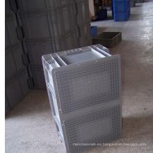 Contenedor de plástico apilable adecuado para almacenamiento en almacén