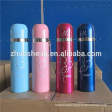 Keep cold or hot for 24 hours high quality material stainless steel bullet vacuum flask with leather