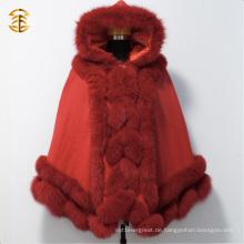 Echte rote Farbe Fox Pelz Kap Schal mit großen Fox Pelz Trimmen