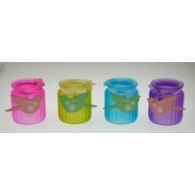 Nouveau bouillon de bougies en verre coloré de conception avec ruban