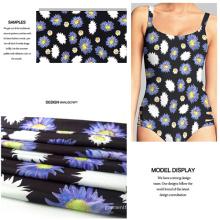 Impresión digital tela de traje de baño con flor de crisantemo