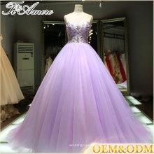 2016 China Alibaba proveedor vestido de noche púrpura noche de la boda con cuentas vestido de pelota