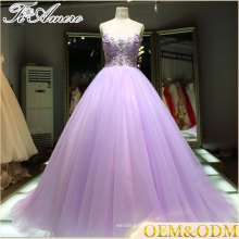2016 China Alibaba supplier night purple wedding evening dress beaded ball gown