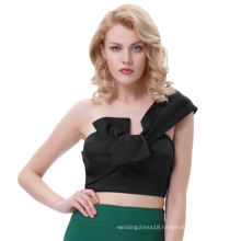 Belle Poque Sexy Womens Asymmetrical One Shoulder Big Bow-Tie Decorated Cropped Black Tops BP000343-1