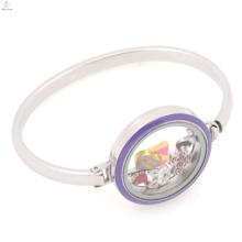 Оптовая торговля твердым стекло браслет из нержавеющей стали 316L эмаль фиолетовый медальон браслет