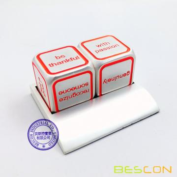 Bescon promotionnel Motivational Solid Metallic Dice Set, 2pcs Motivation Desktop Metal Dice Set un pouce D6 Matt Silver