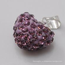 Свадебный подарок Shamballa подвеска Оптовая формы сердца Новое прибытие 15MM фиолетовый кристалл глины подвеска для ювелирных изделий DIY