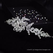 Faixa de cabelo de casamento requintado de cristal europeu feito à mão faixa de cabelo faixa de cabelo de noiva