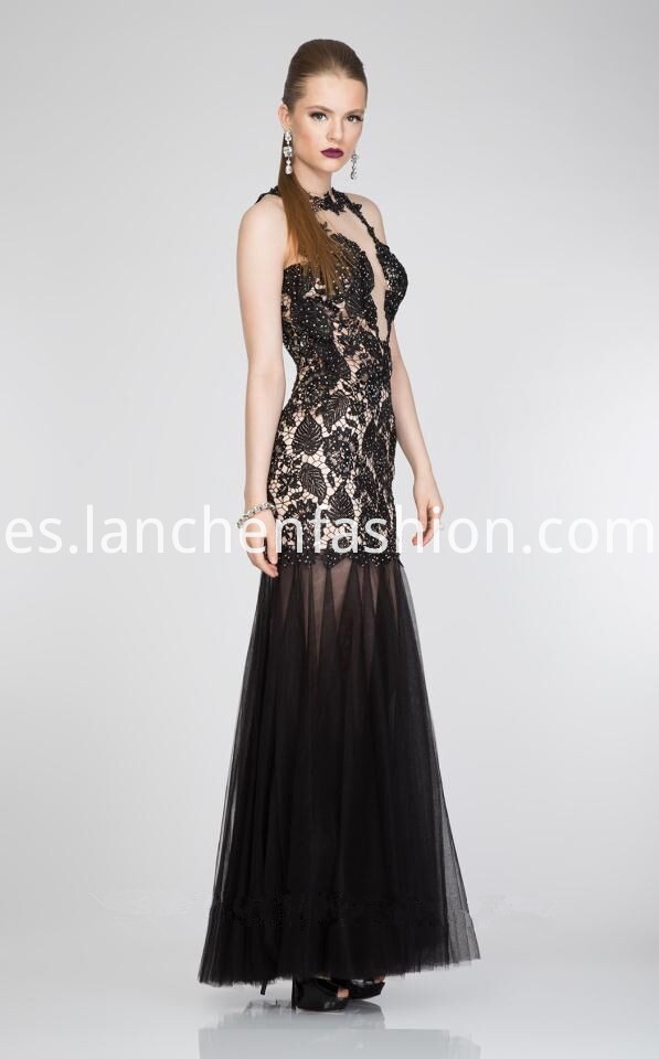 Illusion Neck Lace Black ADresses