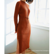 PK18CH005 cotton rib fabric collect waist dress long sleeve tight sweater dress pullover