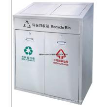 Caixote de lixo destacável público de dois compartimentos (DL107)