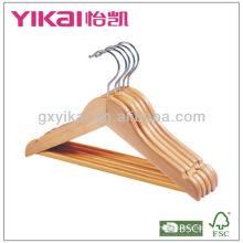 Cintre à vêtements en bois avec barre ronde et encoches
