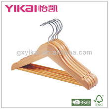 Home use wooden shirt hanger with round bar