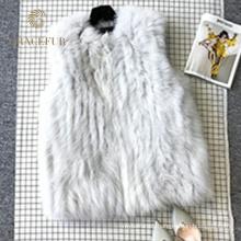 Garantía de calidad zorro real Chaleco de piel de mujer sin mangas