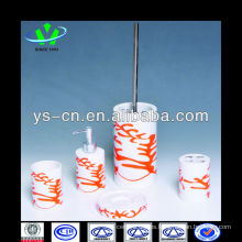 Cilíndrico Blanco y naranja elementos de la habitación de hotel de cerámica para la decoración del cuarto de baño y el uso