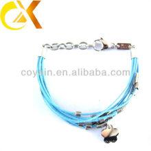 stainless steel jewelry delicate blue leather bracelet custom jewelry china