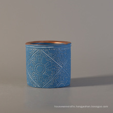 Light Blue Color Coating Decoration Concrete Candle Jar