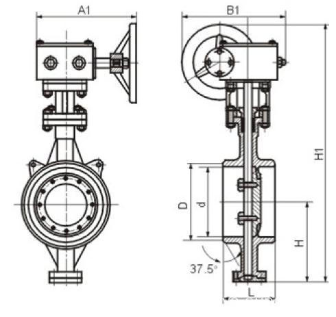 Both weld type metallic hard sealing butterfly valve