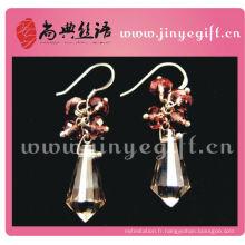 Boucles d'oreilles pendantes à la main en cristal violet fait main