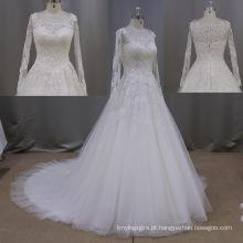 Nova chegada manga longa laço vestido nupcial-line casamento vestidos
