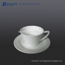 Fine Bone China 280ml Kaffeetasse und Untertasse, weiße Cups für Kaffee und Milch