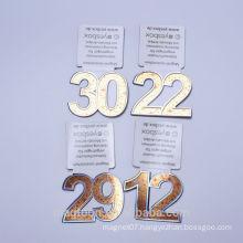 2015 custom gold color numbers design souvenir metal fridge magnet