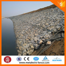 PVC coated and galvanized gabion in steel wire mesh for river construction