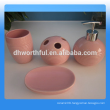 Wholesale 4 pcs of ceramic hotel bathroom accessories in high quality