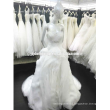 Sweetheart Gowns Bare Shoulder Beaded Organza Ruffles Layers Button Decoration Wedding Dress 2015 Ball Gown