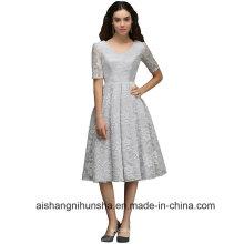 Кружева V-образным вырезом элегантный кружева спинки Пром платье
