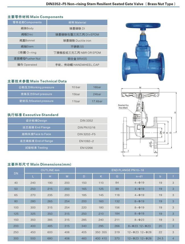 DIN3352 F5 Resilient gate valve